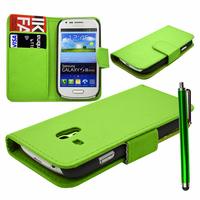 Samsung Galaxy S3 mini i8190/ i8200 VE: Accessoire Etui portefeuille Livre Housse Coque Pochette cuir PU + Stylet - VERT