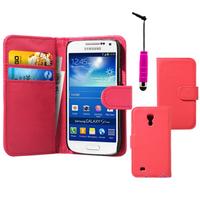 Samsung Galaxy S4 mini i9190/ S4 mini plus I9195I/ i9192/ i9195/ i9197: Accessoire Etui portefeuille Livre Housse Coque Pochette cuir PU + mini Stylet - ROSE