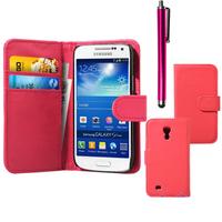Samsung Galaxy S4 mini i9190/ S4 mini plus I9195I/ i9192/ i9195/ i9197: Accessoire Etui portefeuille Livre Housse Coque Pochette cuir PU + Stylet - ROSE