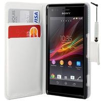 Sony Xperia L S36h/C2105/C2104: Accessoire Etui portefeuille Livre Housse Coque Pochette cuir PU + mini Stylet - BLANC