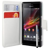 Sony Xperia L S36h/C2105/C2104: Accessoire Etui portefeuille Livre Housse Coque Pochette cuir PU + Stylet - BLANC
