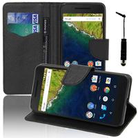 Huawei Nexus 6P: Accessoire Etui portefeuille Livre Housse Coque Pochette support vidéo cuir PU effet tissu + mini Stylet - NOIR