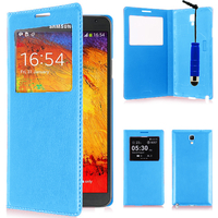 Samsung Galaxy Note 3 Neo / Lite Duos 3G LTE SM-N750 SM-N7505 SM-N7502: Accessoire Coque Etui Housse Pochette Plastique View Case + mini Stylet - BLEU