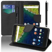 Huawei Nexus 6P: Accessoire Etui portefeuille Livre Housse Coque Pochette support vidéo cuir PU effet tissu + Stylet - NOIR