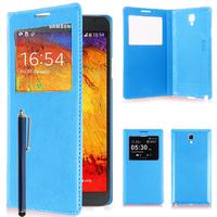 Samsung Galaxy Note 3 Neo / Lite Duos 3G LTE SM-N750 SM-N7505 SM-N7502: Accessoire Coque Etui Housse Pochette Plastique View Case + Stylet - BLEU