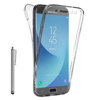 Samsung Galaxy J5 Pro (2017) J530Y/DS: Coque Housse Silicone Gel TRANSPARENTE ultra mince 360° protection intégrale Avant et Arrière + Stylet - TRANSPARENT