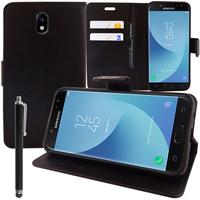 Samsung Galaxy J5 Pro (2017) J530Y/DS: Accessoire Etui portefeuille Livre Housse Coque Pochette support vidéo cuir PU + Stylet - NOIR