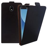 Samsung Galaxy J5 Pro (2017) J530Y/DS: Accessoire Housse Coque Pochette Etui protection vrai cuir à rabat vertical - NOIR