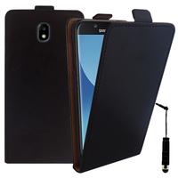 Samsung Galaxy J5 Pro (2017) J530Y/DS: Accessoire Housse Coque Pochette Etui protection vrai cuir à rabat vertical + mini Stylet - NOIR