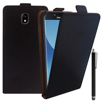 Samsung Galaxy J5 Pro (2017) J530Y/DS: Accessoire Housse Coque Pochette Etui protection vrai cuir à rabat vertical + Stylet - NOIR