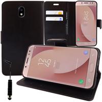 Samsung Galaxy J7 (2017) SM-J730F/DS/ J7 (2017) Duos J730F/DS: Accessoire Etui portefeuille Livre Housse Coque Pochette support vidéo cuir PU + mini Stylet - NOIR