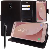 Samsung Galaxy J7 (2017) SM-J730F/DS/ J7 (2017) Duos J730F/DS: Accessoire Etui portefeuille Livre Housse Coque Pochette support vidéo cuir PU + Stylet - NOIR