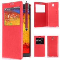 Samsung Galaxy Note 3 Neo / Lite Duos 3G LTE SM-N750 SM-N7505 SM-N7502: Accessoire Coque Etui Housse Pochette Plastique View Case + Stylet - ROUGE