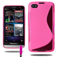 Blackberry Z30: Accessoire Housse Etui Pochette Coque Silicone Gel motif S Line + mini Stylet - ROSE