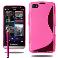 Blackberry Z30: Accessoire Housse Etui Pochette Coque Silicone Gel motif S Line + Stylet - ROSE