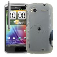 HTC Sensation G14/ Pyramid 4G: Accessoire Housse Etui Pochette Coque Silicone Gel motif S Line + Stylet - TRANSPARENT