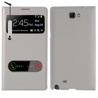 Samsung Galaxy Note 2 N7100/ N7105: Accessoire Coque Etui Housse Pochette Plastique View Case + mini Stylet - BLANC