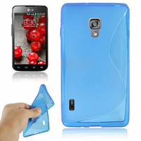 LG Optimus L7 II P710/ L7X P714: Accessoire Housse Etui Pochette Coque Silicone Gel motif S Line - BLEU