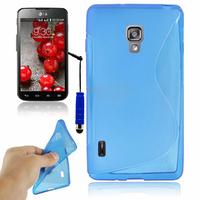 LG Optimus L7 II P710/ L7X P714: Accessoire Housse Etui Pochette Coque Silicone Gel motif S Line + mini Stylet - BLEU