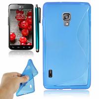 LG Optimus L7 II P710/ L7X P714: Accessoire Housse Etui Pochette Coque Silicone Gel motif S Line + Stylet - BLEU