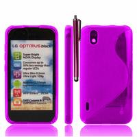 LG Optimus Black P970/ SCHWARZ: Accessoire Housse Etui Pochette Coque Silicone Gel motif S Line + Stylet - VIOLET