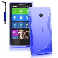 Nokia X/ X+/ A110/ Dual SIM RM-980/ RM-1053: Accessoire Housse Etui Pochette Coque Silicone Gel motif S Line + mini Stylet - BLEU