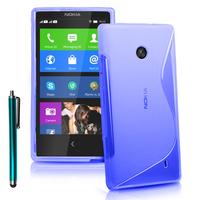 Nokia X/ X+/ A110/ Dual SIM RM-980/ RM-1053: Accessoire Housse Etui Pochette Coque Silicone Gel motif S Line + Stylet - BLEU