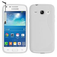 Samsung Galaxy Star 2 Plus/ Advance SM-G350E: Accessoire Housse Etui Pochette Coque Silicone Gel motif S Line + mini Stylet - BLANC