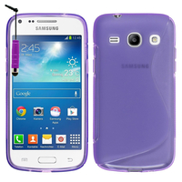 Samsung Galaxy Star 2 Plus/ Advance SM-G350E: Accessoire Housse Etui Pochette Coque Silicone Gel motif S Line + mini Stylet - VIOLET