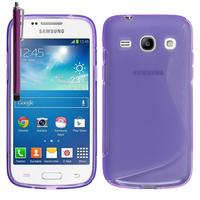 Samsung Galaxy Star 2 Plus/ Advance SM-G350E: Accessoire Housse Etui Pochette Coque Silicone Gel motif S Line + Stylet - VIOLET