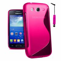 Samsung Galaxy Core I8260/ I8262 Dual Sim: Accessoire Housse Etui Pochette Coque Silicone Gel motif S Line + mini Stylet - ROSE