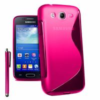 Samsung Galaxy Core I8260/ I8262 Dual Sim: Accessoire Housse Etui Pochette Coque Silicone Gel motif S Line + Stylet - ROSE