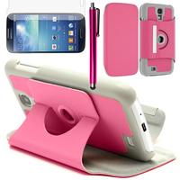 Samsung Galaxy S3 i9300/ i9305 Neo/ LTE 4G: Accessoire Etui Housse Coque avec support Et Rotative Rotation 360° en cuir PU + Stylet - ROSE
