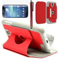 Samsung Galaxy S4 i9500/ i9505/ Value Edition I9515: Accessoire Etui Housse Coque avec support Et Rotative Rotation 360° en cuir PU + Stylet - ROUGE