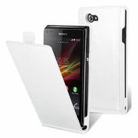 Sony Xperia J St26i/ ST26a: Accessoire Housse Coque Pochette Etui protection vrai cuir à rabat vertical - BLANC