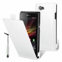 Sony Xperia J St26i/ ST26a: Accessoire Housse Coque Pochette Etui protection vrai cuir à rabat vertical + mini Stylet - BLANC