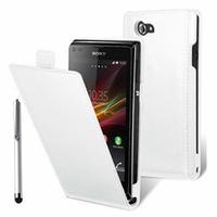 Sony Xperia J St26i/ ST26a: Accessoire Housse Coque Pochette Etui protection vrai cuir à rabat vertical + Stylet - BLANC
