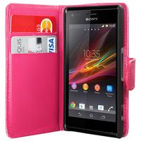 Sony Xperia L S36h/C2105/C2104: Accessoire Etui portefeuille Livre Housse Coque Pochette cuir PU - ROSE