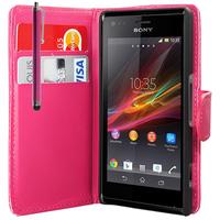 Sony Xperia L S36h/C2105/C2104: Accessoire Etui portefeuille Livre Housse Coque Pochette cuir PU + Stylet - ROSE