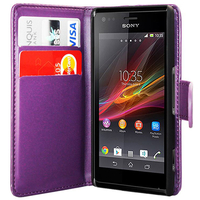 Sony Xperia L S36h/C2105/C2104: Accessoire Etui portefeuille Livre Housse Coque Pochette cuir PU - VIOLET