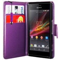 Sony Xperia L S36h/C2105/C2104: Accessoire Etui portefeuille Livre Housse Coque Pochette cuir PU + mini Stylet - VIOLET