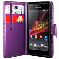 Sony Xperia L S36h/C2105/C2104: Accessoire Etui portefeuille Livre Housse Coque Pochette cuir PU + Stylet - VIOLET