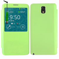 Samsung Galaxy Note 3 N9000/ N9002/ N9005/ N9006: Accessoire Coque Etui Housse Pochette Plastique View Case + mini Stylet - VERT