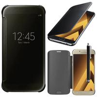 """Samsung Galaxy A5 (2017) 5.2"""" A520F/ A5 (2017) Duos (non compatible Version 2014/ 2015/ 2016): Coque Silicone gel rigide Livre rabat + Stylet - NOIR"""