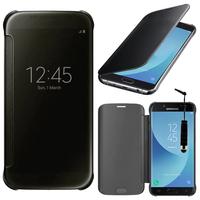 Samsung Galaxy J5 (2017) SM-J750F/DS/ J5 (2017) Duos J530F/DS: Coque Silicone gel rigide Livre rabat + mini Stylet - NOIR