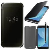 Samsung Galaxy J5 Pro (2017) J530Y/DS: Coque Silicone gel rigide Livre rabat + Stylet - NOIR