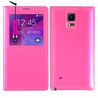 Samsung Galaxy Note 4 SM-N910F/ Note 4 Duos (Dual SIM) N9100/ Note 4 (CDMA)/ N910C N910W8 N910V N910A N910T N910M: Accessoire Coque Etui Housse Pochette Plastique View Case + mini Stylet - ROSE