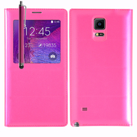 Samsung Galaxy Note 4 SM-N910F/ Note 4 Duos (Dual SIM) N9100/ Note 4 (CDMA)/ N910C N910W8 N910V N910A N910T N910M: Accessoire Coque Etui Housse Pochette Plastique View Case + Stylet - ROSE