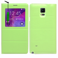 Samsung Galaxy Note 4 SM-N910F/ Note 4 Duos (Dual SIM) N9100/ Note 4 (CDMA)/ N910C N910W8 N910V N910A N910T N910M: Accessoire Coque Etui Housse Pochette Plastique View Case + mini Stylet - VERT