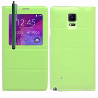 Samsung Galaxy Note 4 SM-N910F/ Note 4 Duos (Dual SIM) N9100/ Note 4 (CDMA)/ N910C N910W8 N910V N910A N910T N910M: Accessoire Coque Etui Housse Pochette Plastique View Case + Stylet - VERT